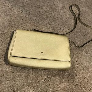 Kate Spade Gold Leather & Gold Chain Crossbody